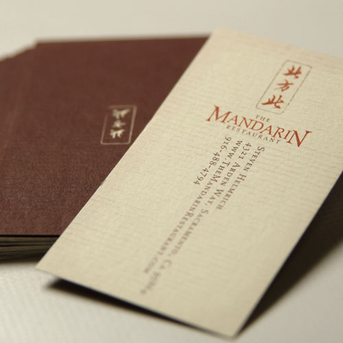 Custome business card design for The Mandarin Restaurant