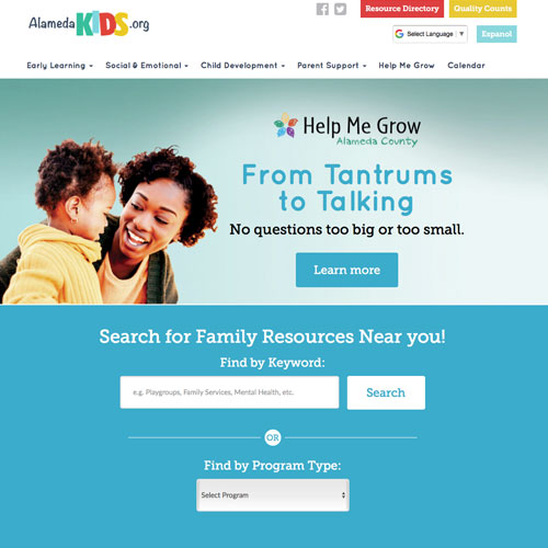 Website home page design & programming for First 5 Alameda