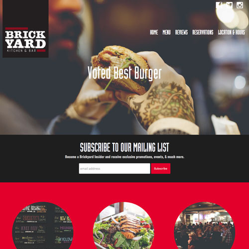 Brickyard restaurant website design