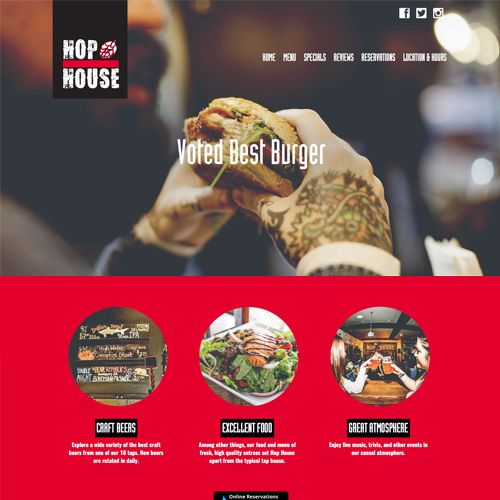 Hop House Roseville website design