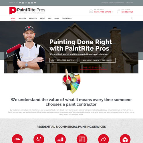 Website design for Paintrite Pros residential & commercial painting contractors
