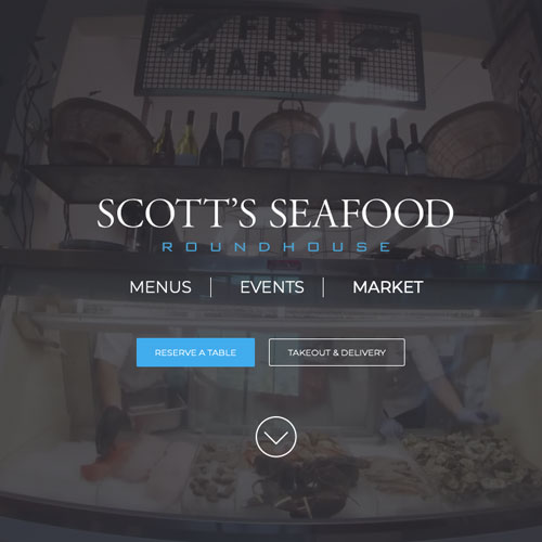 Website design for Scotts Seafood Roundhouse restaurant in Folsom, California