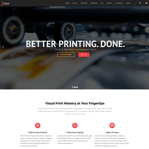 Website design for Sig-1 Printing