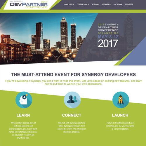 Website design for the Synergy DevPartner Conference