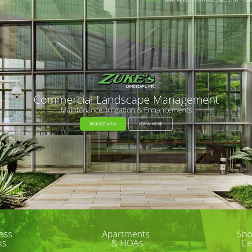 Responsive website development for Zukes Landscape Inc.